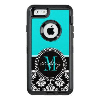 Girly Aqua Black Damask Your Monogram Name OtterBox iPhone 6/6s Case