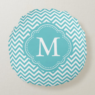 Girly Aqua White Chevron Stripes Monogram Round Cushion