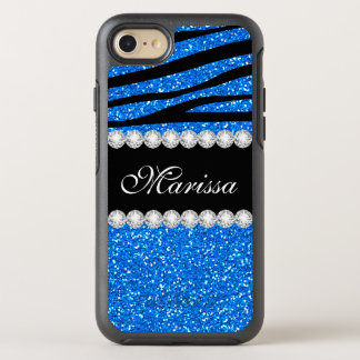 Girly Baby Blue Glitter Black Zebra Stripe Pattern OtterBox Symmetry iPhone 7 Case