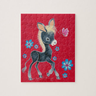 Girly Baby Donkey With Flowers Jigsaw Puzzle