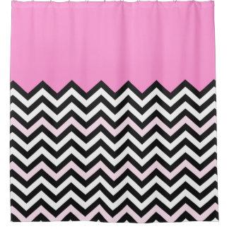 Girly Baby Pink Chevron Stylish Zigzag Pattern Shower Curtain