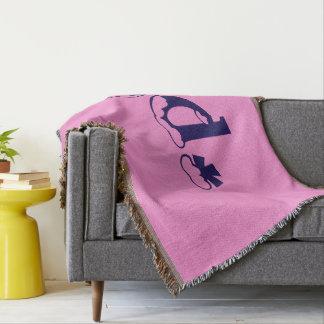Girly Baby Pink Monogram Pattern Design Text Art Throw Blanket