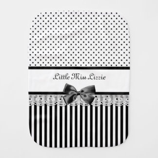 Girly Black and White Victorian Stripes Baby Name Burp Cloth