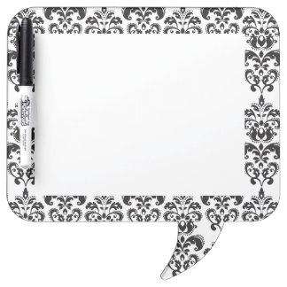 Girly Black and White Vintage Damask Pattern 2 Dry Erase Board