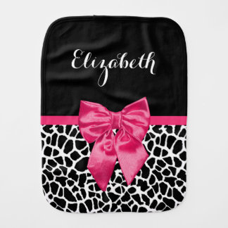 Girly Black Giraffe Animal Print Cute Hot Pink Bow Burp Cloth