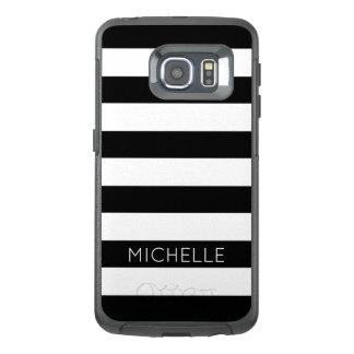 Girly Black White Stripes Custom Name Monogram OtterBox Samsung Galaxy S6 Edge Case