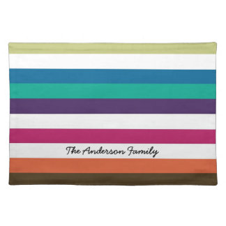 Girly Bold Rainbow Big Horizontal Stripes and Name Placemat