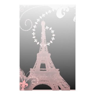 girly chic black and pink paris eiffel tower stationery