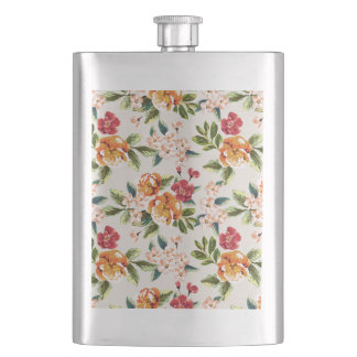 Girly Chic Floral Pattern Watercolor Illustration Hip Flask