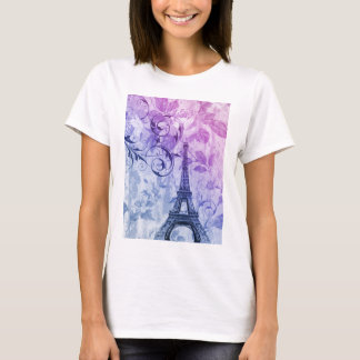 Girly chic purple floral Girly Paris Eiffel Tower T-Shirt
