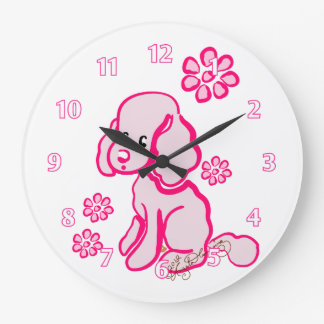 Girly Cocker Spaniel Pink Large Clock