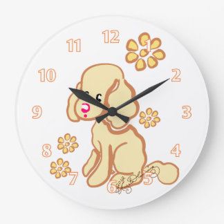 Girly Cocker Spaniel Yellow Large Clock
