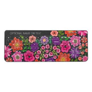 Girly Colorful Floral Pattern Custom Name Monogram Wireless Keyboard