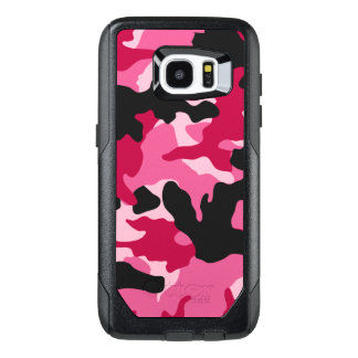 Girly Dark Pink Charcoal Camo Camouflage Pattern OtterBox Samsung Galaxy S7 Edge Case