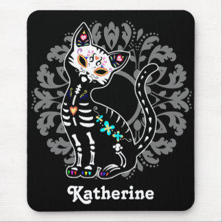 Girly Day of the Dead cute cat custom black Mousepads