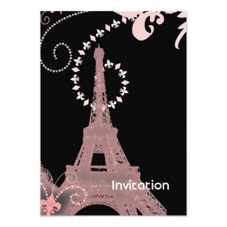 girly elegant pink eiffel tower paris vintage 13 cm x 18 cm invitation card