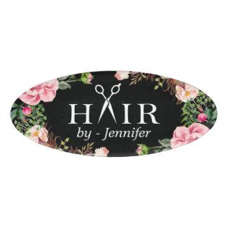 Girly Floral Hair Cut Salon Scissors Logo Name Tag