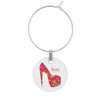 Girly Floral High Heel Wine Charm