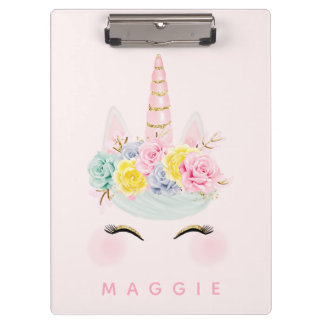 Girly Floral Unicorn Pink Gold Personalised Clipboard