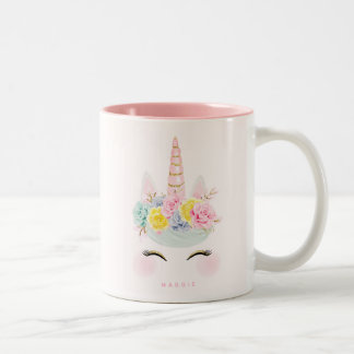 Girly Floral Unicorn Pink Gold Personalised Two-Tone Coffee Mug