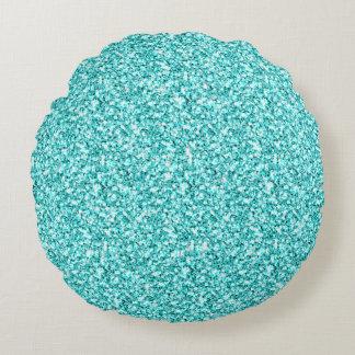 Girly, Fun Aqua Blue Glitter Printed Round Cushion