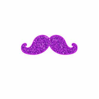 Girly fun retro mustache purple glitter printed photo sculpture badge