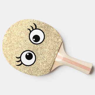 girly funny cartoon eyes on faux gold glitter ping pong paddle