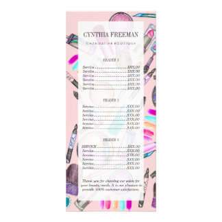 Girly Girl Hand Painted Watercolor Makeup on Pink Customised Rack Card