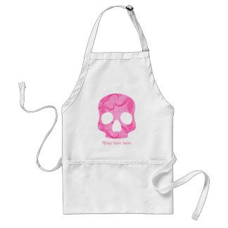 Girly girl pink elegant swirly skull apron