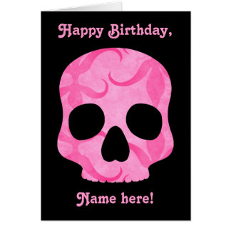 Girly girl pink elegant swirly skull card
