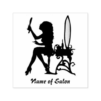 Girly Girl Woman Silhouette Hair and Beauty Salon Self-inking Stamp