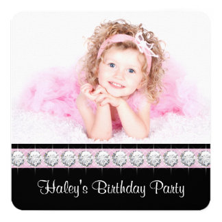 """Girly Glam Birthday Party 5.25"""" Square Invitation Card"""