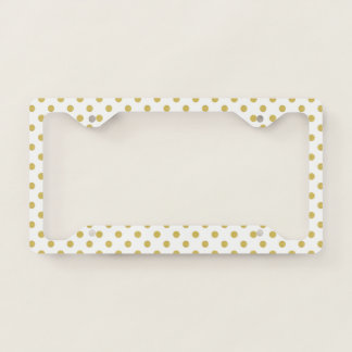 Girly Glitter Gold Polka Dots Pattern Monogram Licence Plate Frame