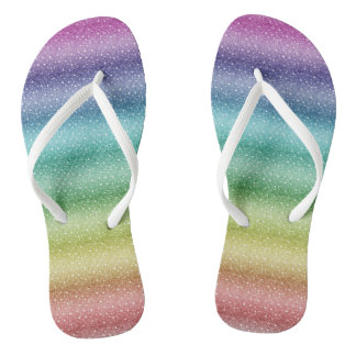 Girly Glitter Rainbow Custom Adult, Slim Straps Jandals