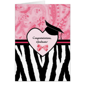Girly Graduation Congratulations Zebra Pattern Card