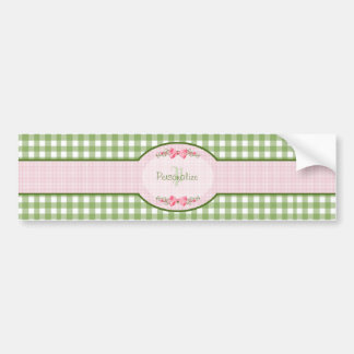 Girly Green Gingham Monogram With Name Bumper Sticker