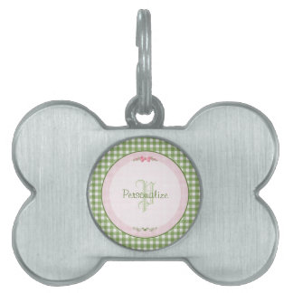 Girly Green Gingham Monogram With Name Pet Name Tag