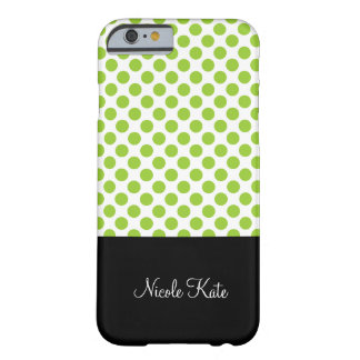Girly Green Polka Dots Monogram Barely There iPhone 6 Case