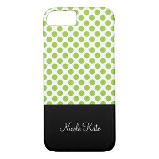 Girly Green Polka Dots Monogram iPhone 8/7 Case