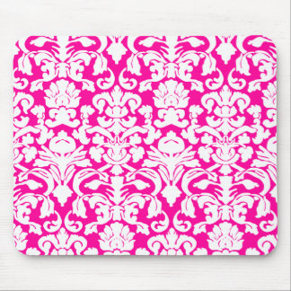 Girly Hot Pink Damask Mouse Pad