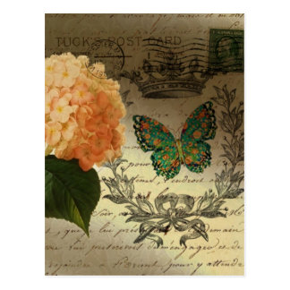 girly Hydrangea butterfly vintage paris Post Card