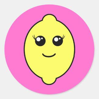 girly lemon classic round sticker