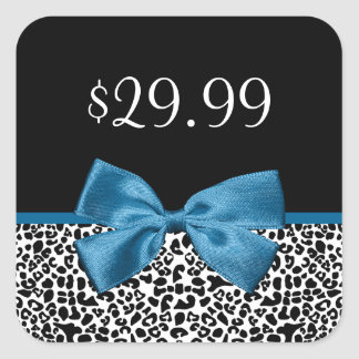 Girly Leopard Print Price Tags Pretty Blue Ribbon Square Sticker