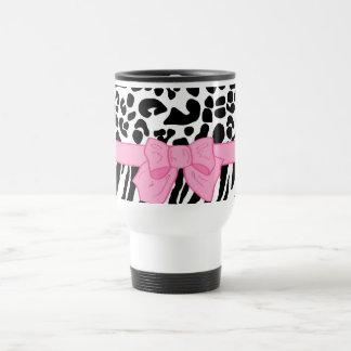Girly Leopard Zebra Animal Print and Cute Pink Bow Coffee Mugs