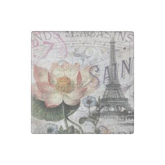 girly lotus flower vintage paris eiffel tower stone magnet