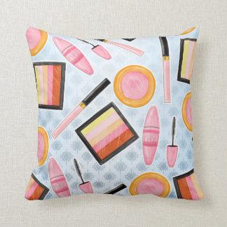 Girly Make Up Products Fashion Illustration Cushion