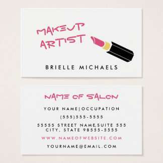Girly Mod Pink Lipstick Makeup Artist Business Card