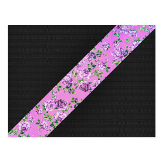 Girly Modern Trendy Hipster Pink Floral Stripe Postcard