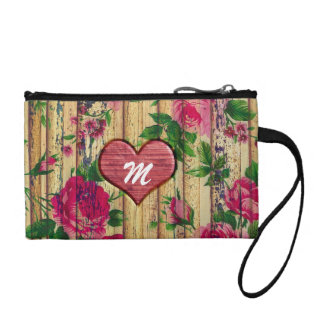 Girly Monogram Floral Print on Wood Coin Purse