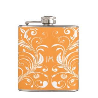 Girly monogram orange floral PERSONALIZE Flask